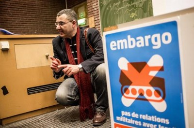 Omar Barghouti, cofondateur du Mouvement BDS à Bruxelles, le 30 avril 2015. (Photo : intal.be / CC 2.0)